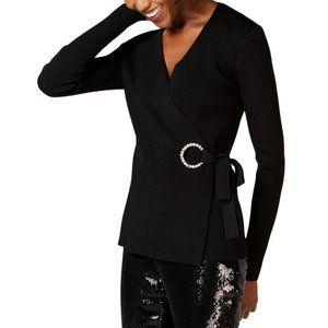 NEW Inc Black Embellished-Grommet Wrap Sweater